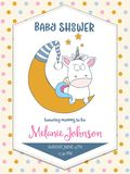 Beautiful baby shower card template with lovely baby unicorn Royalty Free Stock Photos
