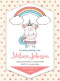 Beautiful baby shower card template with lovely unicorn baby gir Royalty Free Stock Images