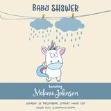 Beautiful baby shower card template with lovely baby unicorn Royalty Free Stock Image