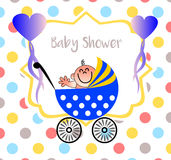 A beautiful baby shower illustration with a dots background Stock Photography