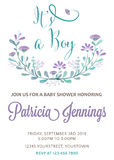 Beautiful baby shower template with watercolor flowers Royalty Free Stock Images