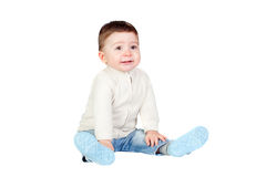 Beautiful baby sit on the floor Royalty Free Stock Photo