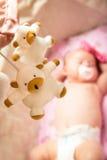 Beautiful baby sleeping sweetly in the cradle. Beautiful child sleeping sweetly in the cradle stock photography