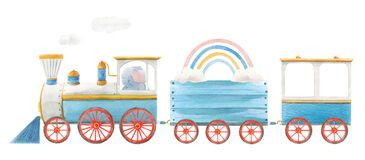 Beautiful baby stock illustration with cute watercolor train.