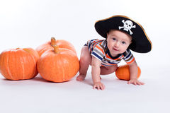 Beautiful baby in a striped T-shirt and a pirate hat on a white royalty free stock photo