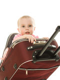 Beautiful baby in suitcase isolated Stock Photography