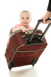 Beautiful baby in suitcase isolated Royalty Free Stock Image
