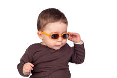 Beautiful baby with sunglasses Royalty Free Stock Images