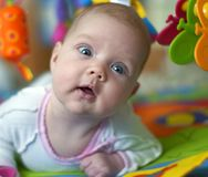 Beautiful baby with toys Royalty Free Stock Images