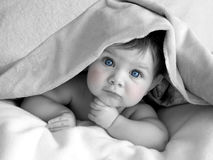 Beautiful baby under blanket stock photo