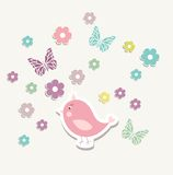 Beautiful baby vintage greeting card vector Stock Photos