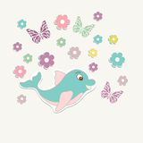 Beautiful baby vintage greeting card vector Royalty Free Stock Images