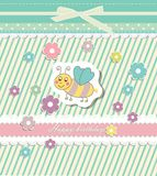 Beautiful baby vintage greeting card vector Royalty Free Stock Image