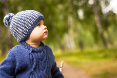 Beautiful Baby Walks Through The Forest, Looking Thoughtfully Into The Distance; Around It Are Trees And Green Foliage, The Weathe Stock Photos