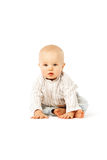Beautiful baby on white background. Cute child. Little kid Stock Photo