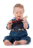 Beautiful Baby With Paint Brush Royalty Free Stock Photos