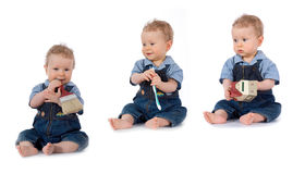 Beautiful Baby With Paint Brush Stock Photography