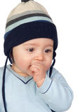 Beautiful baby with wool cap Royalty Free Stock Photography