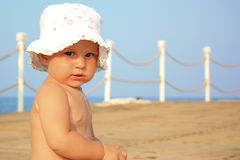 Beautiful babyl's portrait in summertime Royalty Free Stock Image