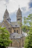 Beautiful back view of the Church Saints Cosmas and Damian in Clervaux Luxembourg stock image