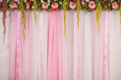 Beautiful backdrop flowers arrangement for wedding ceremony royalty free stock photo