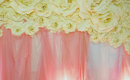 Beautiful backdrop flowers ready for wedding ceremony Stock Image