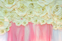 Beautiful backdrop flowers ready for wedding ceremony Stock Images