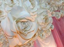 Beautiful backdrop flowers ready for wedding ceremony Stock Photos