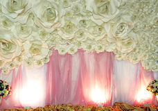 Beautiful backdrop flowers ready for wedding ceremony Stock Photography
