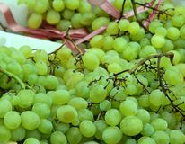 Beautiful backdrop of ripe grapes for sale Royalty Free Stock Photos