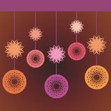 Beautiful background with abstract flowers. And colorful globes royalty free illustration