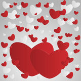 Beautiful background of the abstract paper hearts on Valentine's Royalty Free Stock Photo