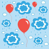 Beautiful background with balloons clouds and rain. Illustration of beautiful background with balloons clouds and rain Royalty Free Stock Image