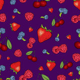 Beautiful background of berries. Raspberries, strawberries, blueberries and cherries. Vector illustration. Summer fruits. Royalty Free Stock Photography