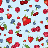 Beautiful background of berries. Raspberries, strawberries, blueberries and cherries. Vector illustration. Summer fruits. Royalty Free Stock Photos