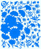 Beautiful background with blue flowers. In the eastern style vector illustration
