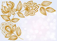 Background bokeh highlights and decorated with carved floral pattern Royalty Free Stock Image