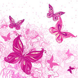 Beautiful background with butterflies Stock Photography