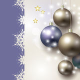 Beautiful background with Christmas baubles. Abstract background with Christmas baubles and stars Royalty Free Stock Image