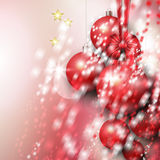 Beautiful background with Christmas red baubles Royalty Free Stock Photos