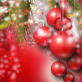 Beautiful background with Christmas red baubles Stock Images