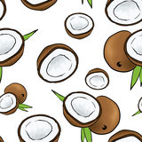 Beautiful background of coconuts. Vector illustration. Tropical fruits. Summer. Stock Photos