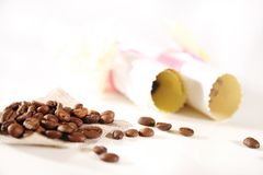 Beautiful background with coffee and paper Stock Images