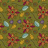 Beautiful background with colorful hand drawn flowers and leaves royalty free illustration