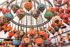 Beautiful background with colorful lamps arabic style of decorat Stock Photography