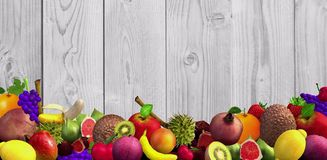 Beautiful background with different ripe and healthy fruits 3d format vector illustration