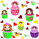 Beautiful background with dolls, birds Stock Photography