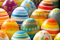 Easter eggs hand painted. Beautiful background of Easter eggs hand painted Stock Photography