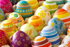 Easter eggs hand painted. Beautiful background of Easter eggs hand painted Royalty Free Stock Photo