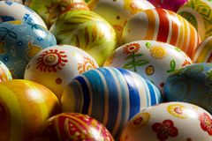 Easter eggs hand painted. Beautiful background of Easter eggs hand painted Stock Photos